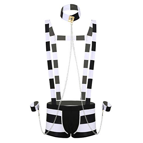 TiaoBug Homme Sexy Lingerie Prisonnier Boxer Mankini Trunk S