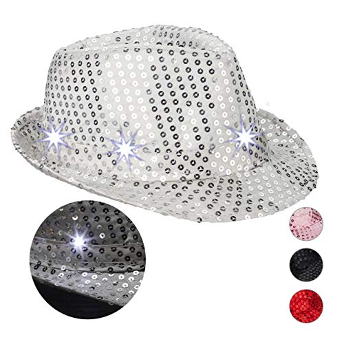 Relaxdays- Paillettes 6 LED Clignotantes Sequin Homme&Femme